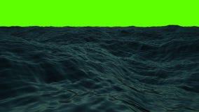 大波浪在海在一个绿色屏幕上 皇族释放例证