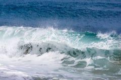 大波浪的冻结的行动在海滩的 免版税库存照片
