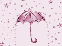 大海伞和星 图库摄影