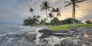 大海岸早期的夏威夷海岛kona早晨 库存图片
