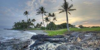 大海岸早期的夏威夷海岛kona早晨 库存照片