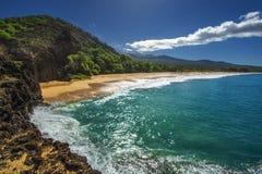 大海滩, Oneloa海滩,南毛伊,夏威夷,美国 免版税库存图片