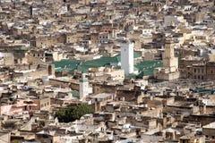 大清真寺,摩洛哥鸟瞰图Fes的 免版税库存图片
