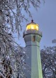 大湖在垂直的取向的冬天灯塔 图库摄影