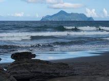大溪海滩和乌龟海岛 库存照片