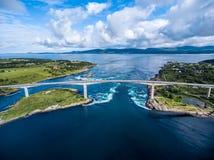 大漩涡Saltstraumen,诺尔兰,挪威的旋涡 库存照片