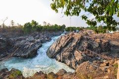 大瀑布和水急流,湄公河Loas 免版税库存照片