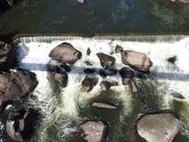 大瀑布峡谷的,朗塞斯顿,塔斯马尼亚岛南Esk河 免版税库存照片