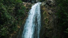 大瀑布流动在峭壁下在公园,慢动作 股票录像