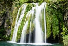 大瀑布视图在Plitvice国家公园在克罗地亚 库存图片