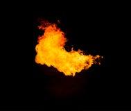 大火焰在营火点燃 库存图片