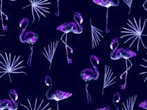 大火鸟蓝色夏威夷无缝的样式 向量例证