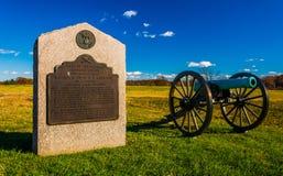 大炮和一座纪念碑在葛底斯堡,宾夕法尼亚 库存照片