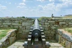 大炮在一个老堡垒,卡瓦略葡萄牙 库存照片