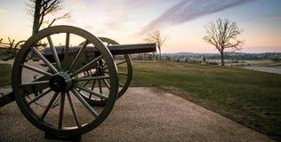 大炮在日出的葛底斯堡 免版税库存图片