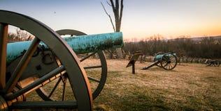 大炮在日出的葛底斯堡 库存照片