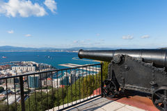 大炮在直布罗陀 库存照片