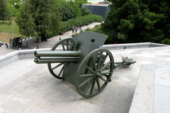 大炮在Marasesti Mausoluem 免版税库存照片