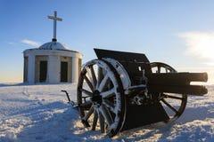 大炮接近  在全景滑雪瑞士冬天附近amden区 免版税库存照片