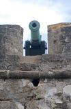 大炮从瞄准海湾和海的16世纪 库存照片