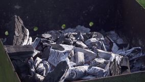 大煤炭在格栅烧并且闷燃 影视素材