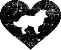 大牧羊犬在黑白的心脏 向量例证