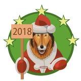 大牧羊犬狗新年好2018年 免版税库存图片