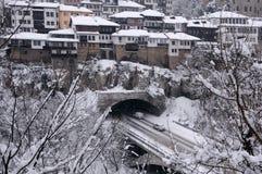 大特尔诺沃VehicularTunnel在冬天 库存照片