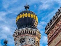 大犹太会堂在多哈尼街,布达佩斯,匈牙利的外部细节 图库摄影