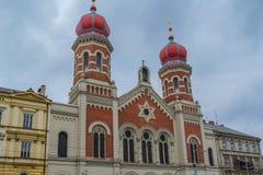 大犹太会堂的看法在Pilsen比尔森,捷克 免版税图库摄影