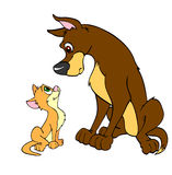 大狗和小的猫 库存照片