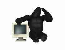大猩猩困惑与计算机显示器例证 免版税库存图片