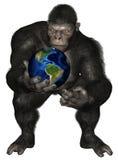 大猩猩猿被隔绝的行星地球 向量例证