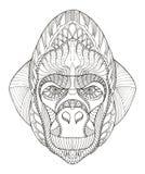大猩猩顶头zentangle传统化了,导航,例证,徒手画 免版税库存图片
