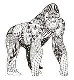 大猩猩zentangle传统化了,导航,例证,徒手画的penci 免版税库存照片