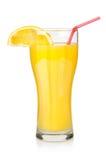 大玻璃汁液桔子 库存照片