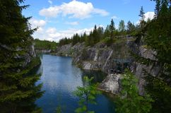大理石事业风景在Ruskeala,卡累利阿共和国,俄罗斯 免版税库存图片
