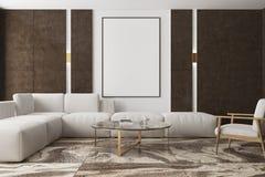 大理石和棕色客厅,海报 免版税库存照片