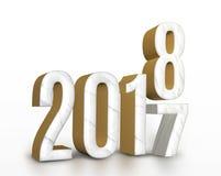 年2017大理石和金子纹理数字变成2018个新年 图库摄影
