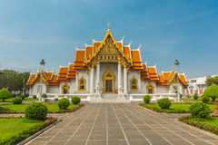 大理石寺庙或Wat Benchamabophit寺庙,曼谷泰国 免版税库存图片