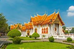 大理石寺庙或Wat Benchamabophit寺庙,曼谷泰国 免版税库存照片