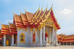 大理石寺庙, Wat Benchamabophit Dusitvanaram曼谷 库存图片