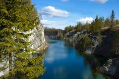 大理石峡谷Ruskeala,俄罗斯 库存照片