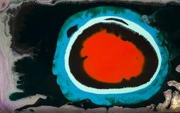 大理石抽象丙烯酸酯的背景 红色使有大理石花纹的艺术品圈子纹理 玛瑙波纹样式 金粉末 库存照片