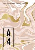 大理石抽象桃红色金白色背景 流动油漆的传染媒介纹理 婚姻的,邀请模板 库存例证