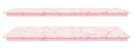 大理石桌,桌面桃红色表面,在白色背景隔绝的显示产品的石平板有裁减路线 免版税库存照片