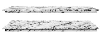 大理石桌,桌面白色表面,在白色背景隔绝的显示产品的石平板有裁减路线 免版税图库摄影