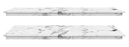 大理石桌,桌面白色表面,在白色背景隔绝的显示产品的石平板有裁减路线 向量例证