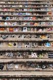 大理石步充满五颜六色的广告的贴纸 图库摄影