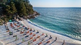 大理石海滩Saliara海滩, Thassos海岛,希腊 图库摄影